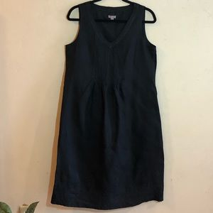 Black J. Jill embroidered lined sleeveless dress.